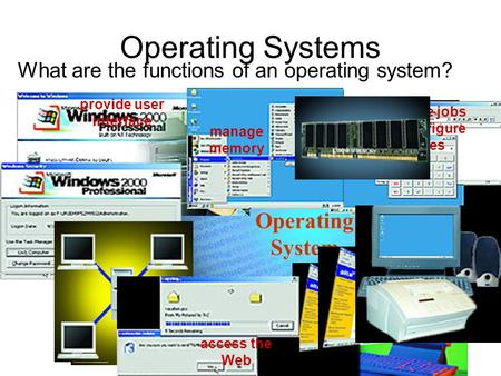 Operating System manage programs Operating Systems What are the functions of an operating system? start up the computer administer security control a network.