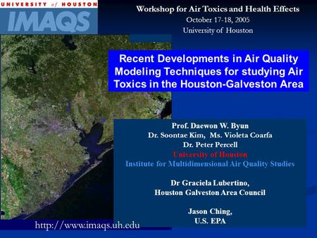 Recent Developments in Air Quality Modeling Techniques for studying Air Toxics in the Houston-Galveston Area Prof. Daewon W. Byun Dr. Soontae Kim, Ms.