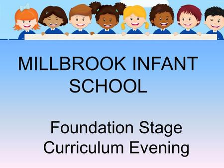MILLBROOK INFANT SCHOOL Foundation Stage Curriculum Evening.