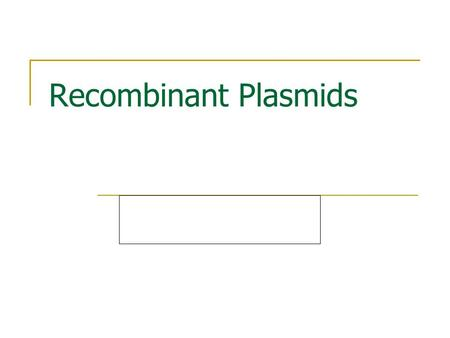 Recombinant Plasmids. What is a plasmid? A plasmid is a circular DNA molecule separate from the much larger bacterial chromosome. Every plasmid has an.