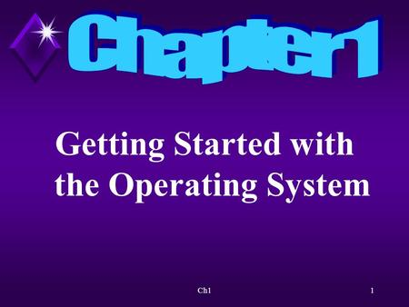 Ch11 Getting Started with the Operating System. Ch12 Overview Will discuss the purpose and function of an operating system.