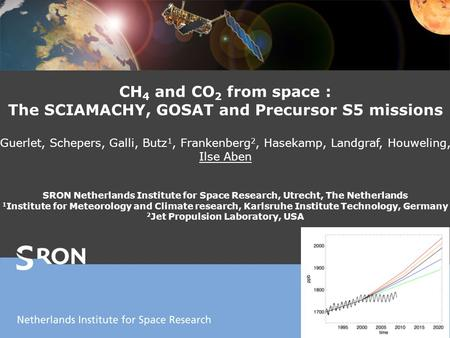 CH 4 and CO 2 from space : The SCIAMACHY, GOSAT and Precursor S5 missions Guerlet, Schepers, Galli, Butz 1, Frankenberg 2, Hasekamp, Landgraf, Houweling,