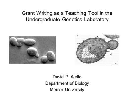 Grant Writing as a Teaching Tool in the Undergraduate Genetics Laboratory David P. Aiello Department of Biology Mercer University.