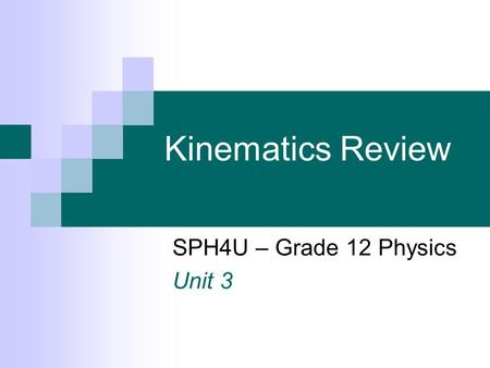 Kinematics Review SPH4U – Grade 12 Physics Unit 3.
