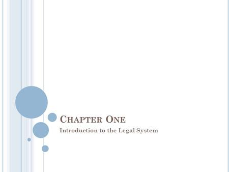 C HAPTER O NE Introduction to the Legal System. In Canada laws are made by our elected representatives or by the courts The process of passing a bill.