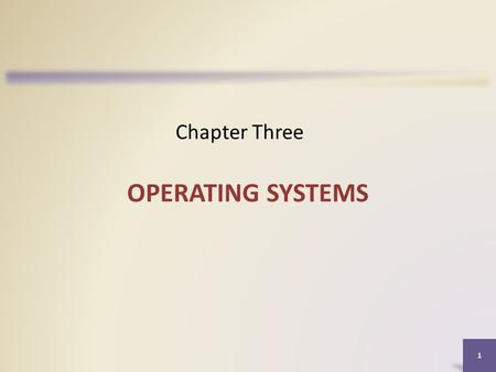Chapter Three OPERATING SYSTEMS.