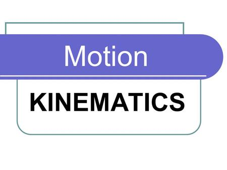 Motion KINEMATICS Quantity in motion distance/displacement speed/velocity Acceleration/deceleration.