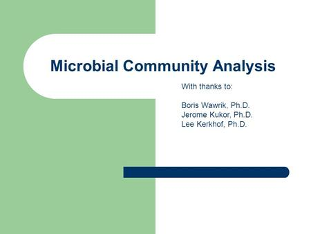 Microbial Community Analysis