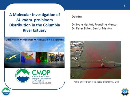 1 A Molecular Investigation of M. rubra pre-bloom Distribution in the Columbia River Estuary Deirdre Dr. Lydie Herfort, Frontline Mentor Dr. Peter Zuber,