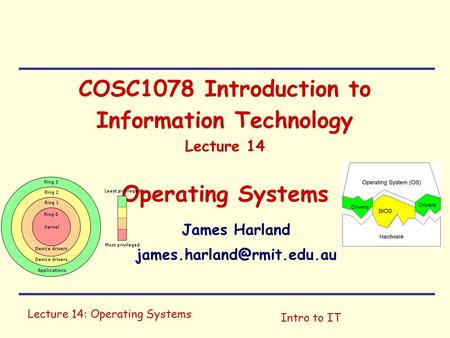 Lecture 14: Operating Systems Intro to IT COSC1078 Introduction to Information Technology Lecture 14 Operating Systems James Harland