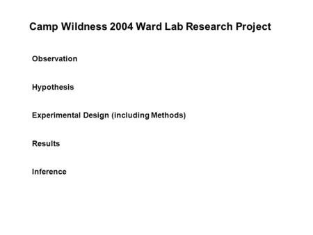 Observation Hypothesis Experimental Design (including Methods) Results Inference Camp Wildness 2004 Ward Lab Research Project.