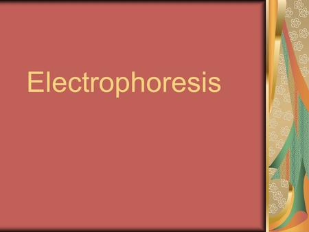 "Electrophoresis. Means literally to ""carry with electricity."" Used to separate charged molecules such as DNA, RNA, & proteins. Larger (heavier) particles."
