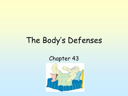 The Body's Defenses Chapter 43. Nonspecific Defenses Animals need way to protect against disease. 3 lines of defense; 2 nonspecific (don't distinguish)