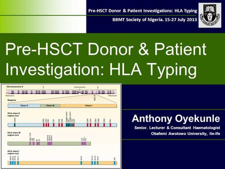 Pre-HSCT Donor & Patient Investigations: HLA Typing BBMT Society of Nigeria. 15-27 July 2013 Pre-HSCT Donor & Patient Investigation: HLA Typing Anthony.