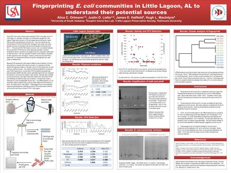 TEMPLATE DESIGN © 2008 www.PosterPresentations.com Fingerprinting E. coli communities in Little Lagoon, AL to understand their potential sources Alice.