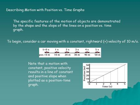 Describing Motion with Position vs. Time Graphs The specific features of the motion of objects are demonstrated by the shape and the slope of the lines.