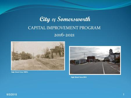 CAPITAL IMPROVEMENT PROGRAM 2016-2021 9/3/20151 City Of Somersworth High Street Circa 1890's High Street Circa 2014.