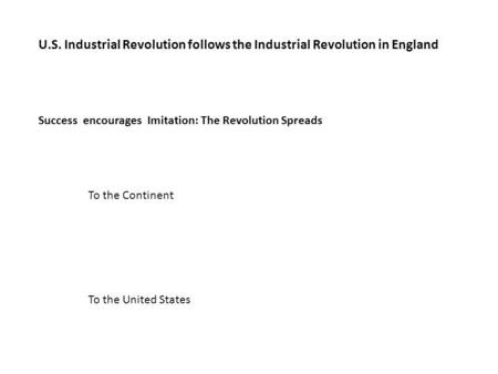 U.S. Industrial Revolution follows the Industrial Revolution in England Success encourages Imitation: The Revolution Spreads To the Continent To the United.