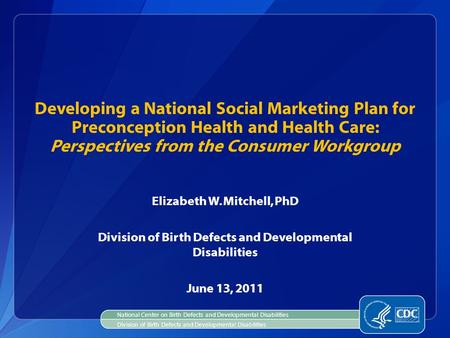 Elizabeth W. Mitchell, PhD Division of Birth Defects and Developmental Disabilities June 13, 2011 Developing a National Social Marketing Plan for Preconception.