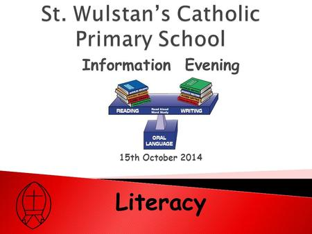 Information Evening 15th October 2014 Literacy.  Reading  Writing  Speaking and Listening.