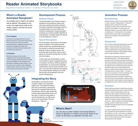 Reader Animated Storybooks Animation Process Software Design A Solution The Problem Americans on average watch two hours of television each day. They read.