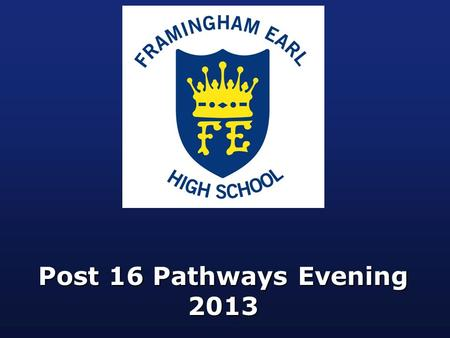 Post 16 Pathways Evening 2013. Outline of Evening  Introduction: Mr. Player (Director of Learning KS4)  Quality Applications & 'Getting Your Place':