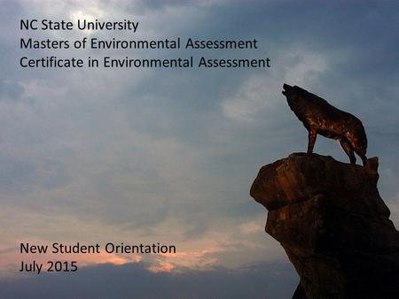 NC State University Masters of Environmental Assessment