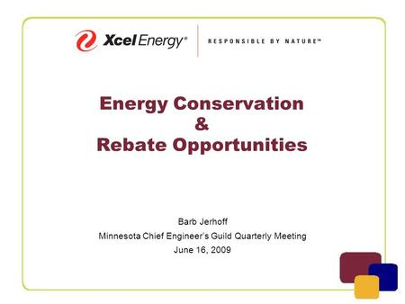 Energy Conservation & Rebate Opportunities Barb Jerhoff Minnesota Chief Engineer's Guild Quarterly Meeting June 16, 2009.