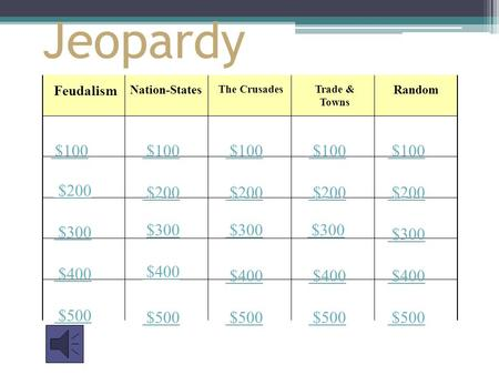 Jeopardy Feudalism The Crusades Random $100 $200 $300 $400 $500 $100 $200 $300 $400 $500 Trade & Towns Nation-States.