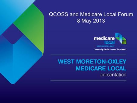 QCOSS and Medicare Local Forum 8 May 2013. Total Area: 9,618km 2 Total population (2011): 365,638 (community of communities) Suburbs: 197 Postcodes: