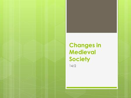 Changes in Medieval Society 14/2. SETTING THE STAGE  While Church reform, cathedral building, and the Crusades were taking place, other important changes.