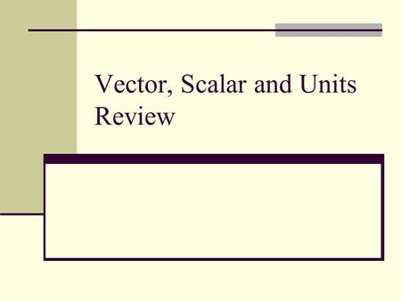 Vector, Scalar and Units Review. Vector vs. Scalar Definitions: Vectors are any quantity in physics that can be characterized by both its magnitude and.