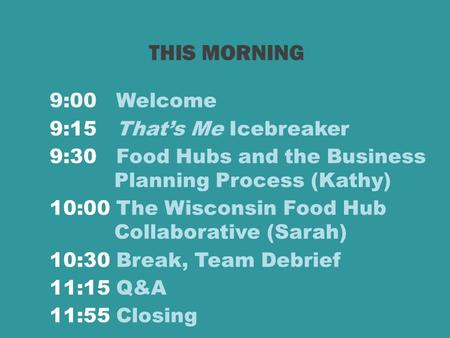 9:00 Welcome 9:15 That's Me Icebreaker 9:30 Food Hubs and the Business Planning Process (Kathy) 10:00 The Wisconsin Food Hub Collaborative (Sarah) 10:30.