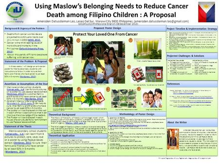 Ameroden Datusolaiman Lao, Lanao Del Sur, Marawi City 9800 Philippines Using Maslow's Belonging Needs to Reduce Cancer.