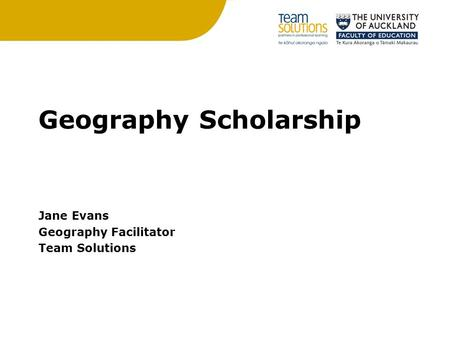 Geography Scholarship Jane Evans Geography Facilitator Team Solutions.