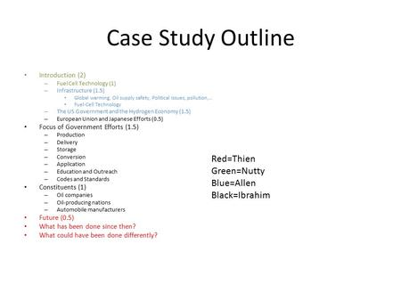 Case Study Outline Introduction (2) – Fuel Cell Technology (1) – Infrastructure (1.5) Global warming, Oil supply safety, Political issues, pollution,…