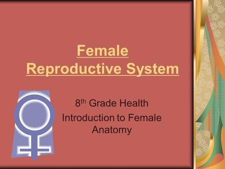 Female Reproductive System 8 th Grade Health Introduction to Female Anatomy.