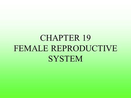 CHAPTER 19 FEMALE REPRODUCTIVE SYSTEM. Female Reproductive System There are 3 Main Functions of the female reproductive system: 1. Produce Ova – female.