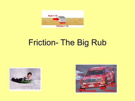 Friction- The Big Rub. Student learning outcomes: students will 1. explain that friction is a force that opposes motion. 2.describe what factors determine.