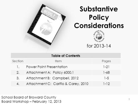 School Board of Broward County Board Workshop – February 12, 2013 1 Substantive Policy Considerations for 2013-14 Table of Contents SectionItemPages 1.Power.