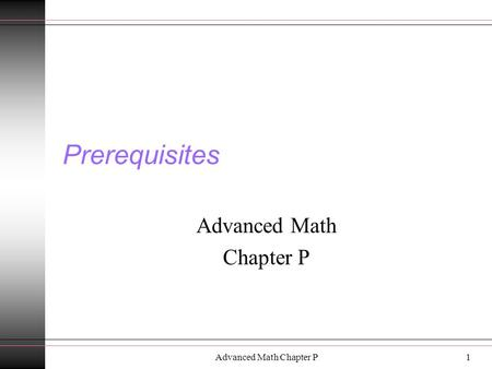 Advanced Math Chapter P