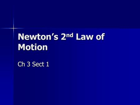 Newton's 2 nd Law of Motion Ch 3 Sect 1. Review Speed Definition Velocity Definition Acceleration Definition Mass Definition Force Definition.