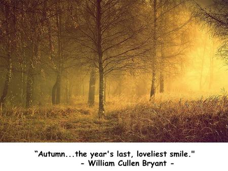 """Autumn...the year's last, loveliest smile. - William Cullen Bryant -"