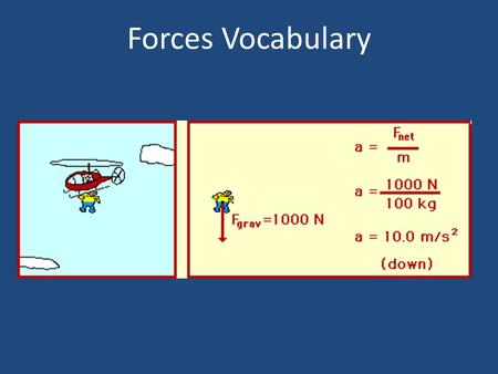 Forces Vocabulary. A Push or Pull exerted on an object. 1.