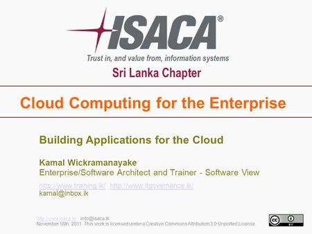 Cloud Computing for the Enterprise  November 18th, 2011. This work is licensed under a Creative Commons.