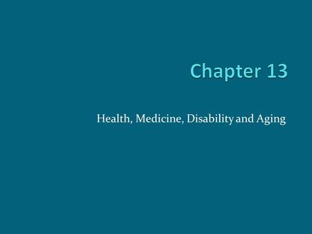 Aging and Disability: A Comparison of Health Related Changes