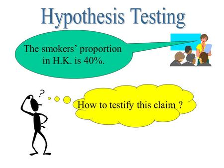 The smokers' proportion in H.K. is 40%. How to testify this claim ?