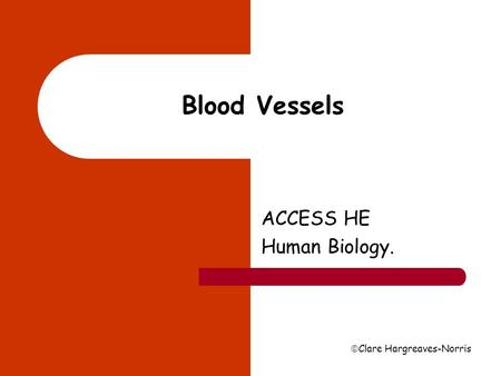  Clare Hargreaves-Norris Blood Vessels ACCESS HE Human Biology.