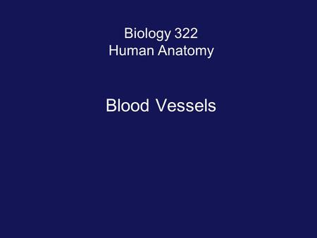 Biology 322 Human Anatomy Blood Vessels.