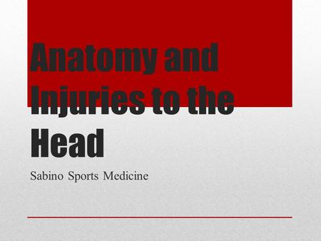 Anatomy and Injuries to the Head Sabino Sports Medicine.